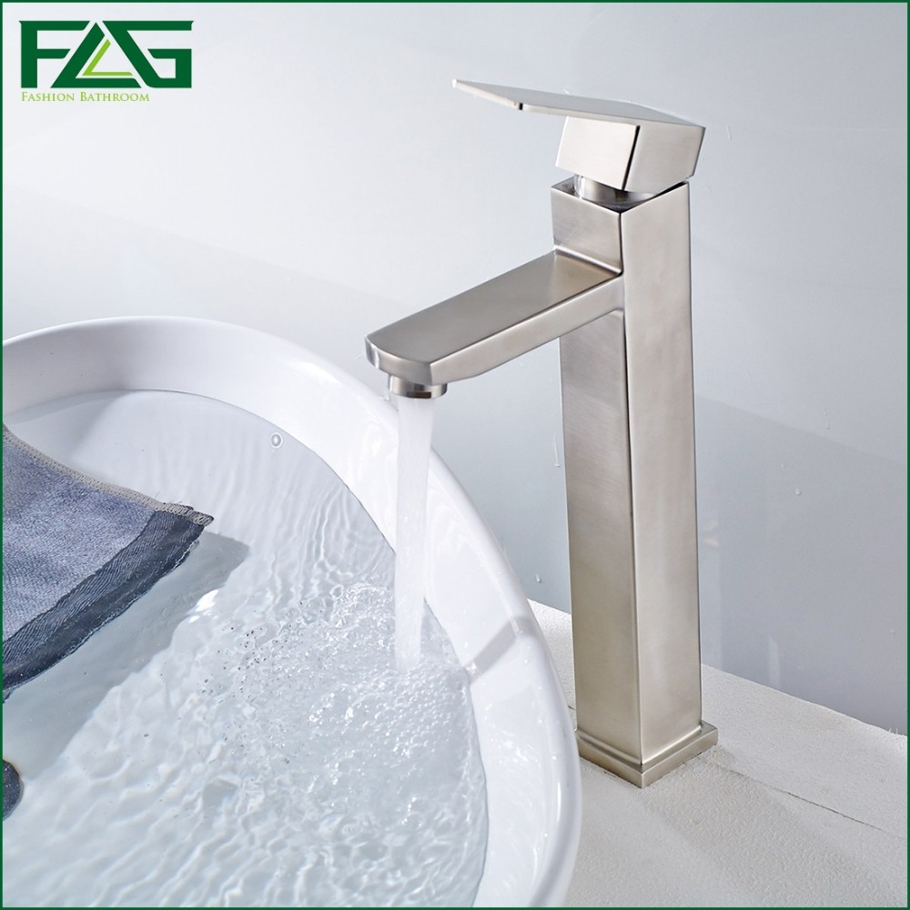 FLG Basin Faucet Cold & Hot Deck Mounted 304 Stainless Steel Basin Faucet Platform Heightening Wastafel Kraan Water Taps SS015(China (Mainland))