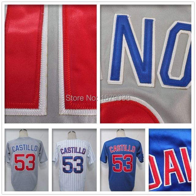 #53 Welington Castillo jersey 100% Stitched logo cheap Authentic Jersey Chicago baseball jersey Size 60 Accept Mix Order blue(China (Mainland))
