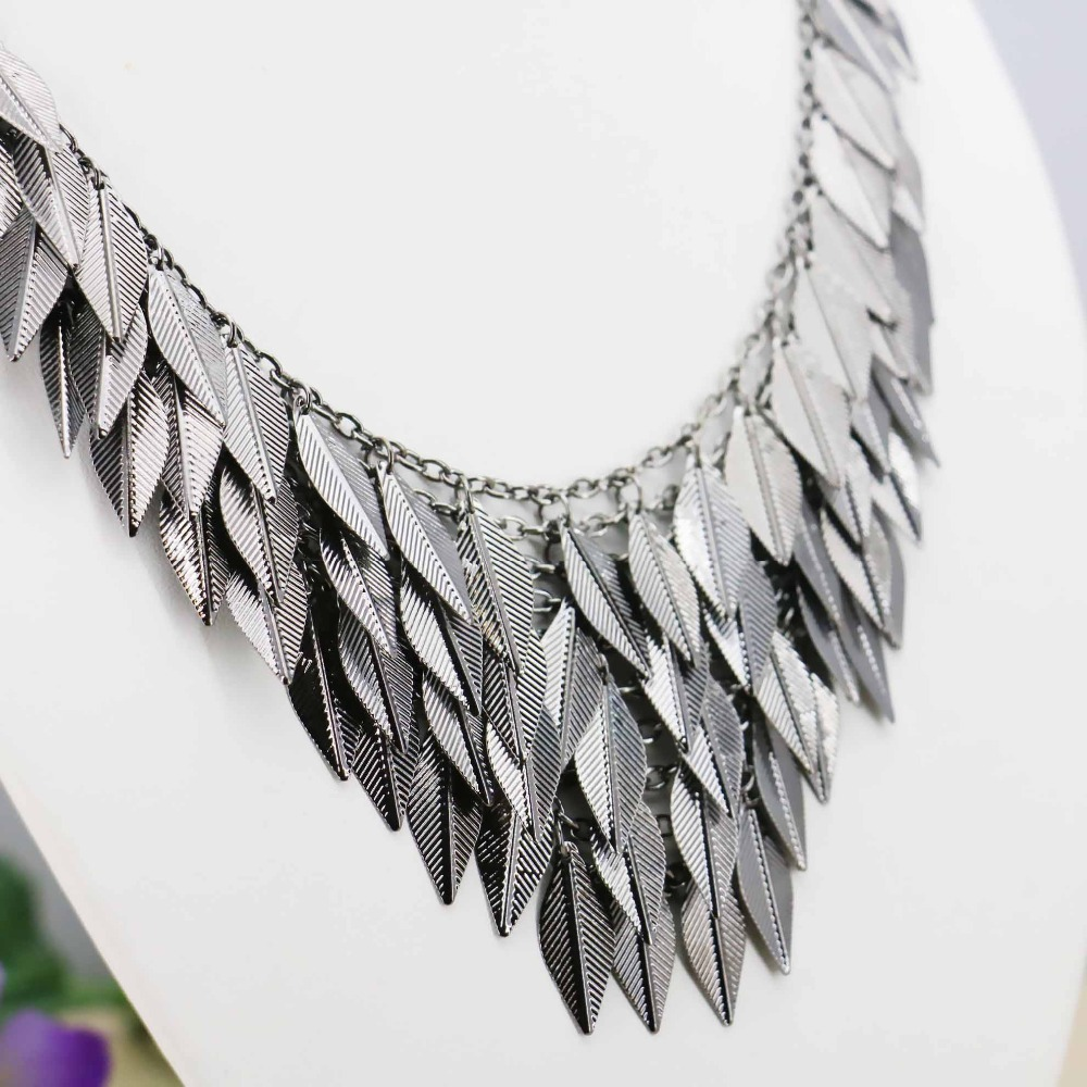 Black Gold Plating Multilayer Metal leaf Sweater Chain Women Girls Gifts Necklace Choker Jewelry crafts making design 18inch(China (Mainland))