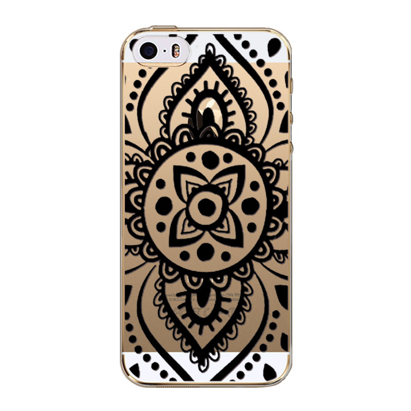 Soft Silicon TPU Back Case Cover For iPhone 5 5S SE Hollow Transparent HENNA OJIBWE DREAM CATCHER Dandelion Strawberry Pattern