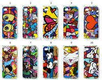 2014 HOT new design 1pcs/lot wholesale Romero Britto Girl hard white case cover for iphone 4 4s + free shipping