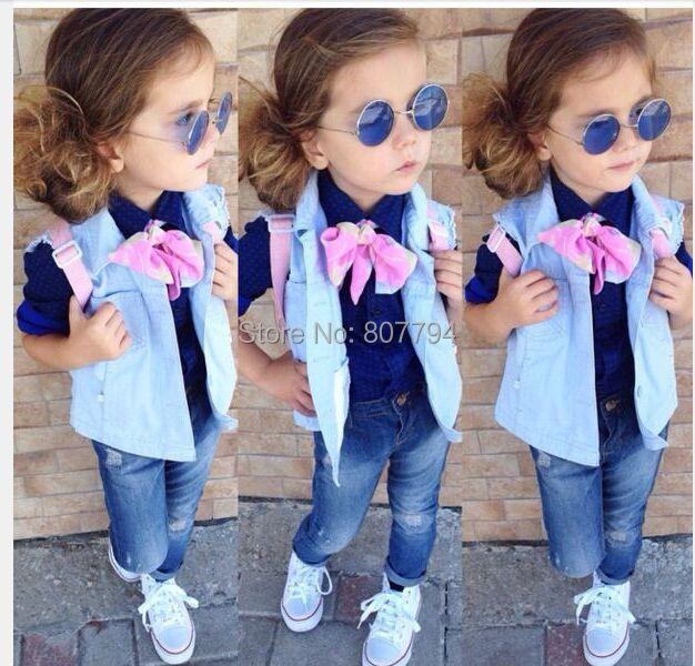 ❤ ❤ كولكْشنْ جنان ❤ ❤ Freeshipping-Girls-Fashion-Spring-Denim-Clothing-Sets-Girl-Denim-Vest-Cotton-Long-Sleeve-Shirt-Bow-Jeans