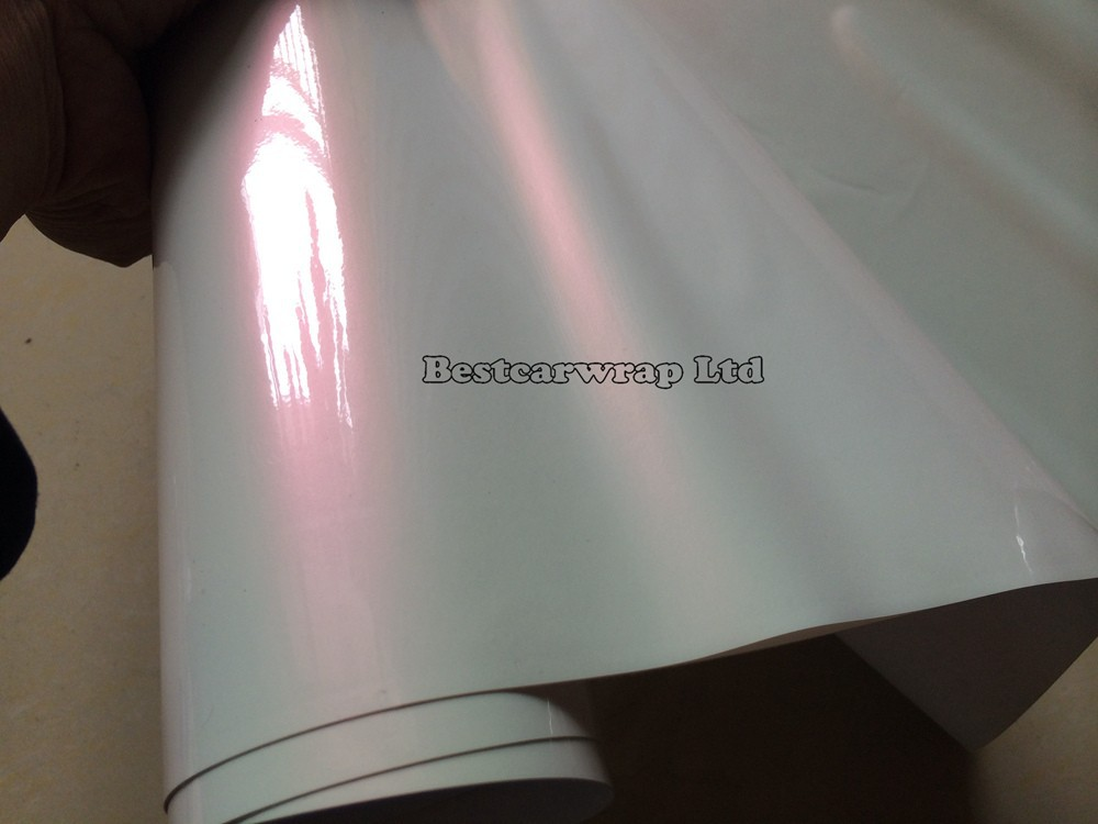 Pearl Gloss white satin pink 3m pearlescent vinyl Wrapping Film (2)