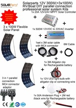 Buy Solarparts 1x300W Professional DIY /Boat/Marine Kit Solar Home System 3x100W pvflexible solar panel MPPT controller Inverter LED for $458.99 in AliExpress store