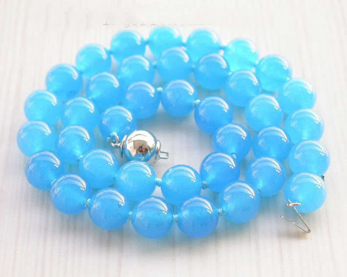 2015 (Min Order1)10mm Blue Chalcedony Bead Necklace Rope Chain Beads Jasper Fashion Jewelry Gift For Women Girl (Minimum Order1)(China (Mainland))