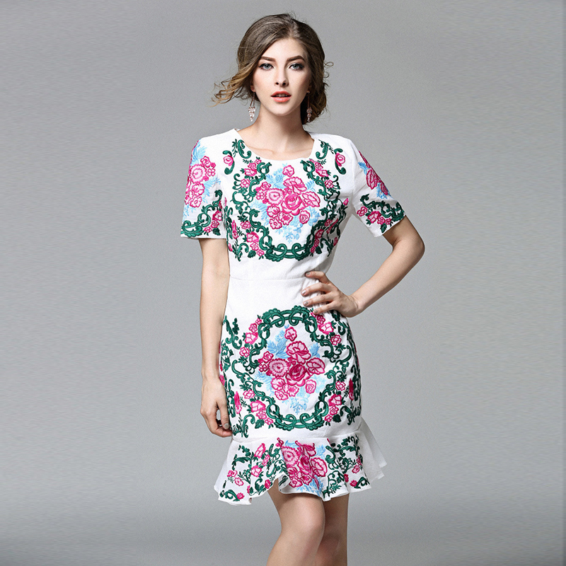 2016 new fashion women elegant vintage cotton embroidery trumpet bodycon formal party short dress vestidos summer high end T5407(China (Mainland))