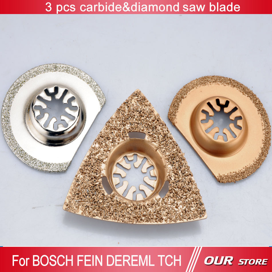 3 pcs carbide&diamond saw blades for oscillating tools as TCH,FEIN,DREMEL,at good price and fast delivery,best for decoration(China (Mainland))