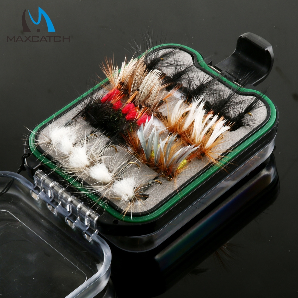 60pcs Fly Fishing Hook With Waterproof Plastic Double Side Lanyard fly Fishing Box Fly Hook