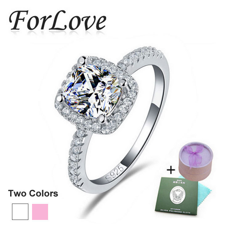 925 Sterling Silver Rings 4 Carat CZ Diamond for Women Wedding Engagement Wholesale Jewelry anel aneis anillos O Forlove R820(China (Mainland))