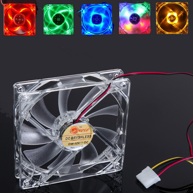 FW1S Yellow LED Light CPU Cooling Laptop Cooler Fan Computer PC Clear Case Quad 12CM Heatsink(China (Mainland))