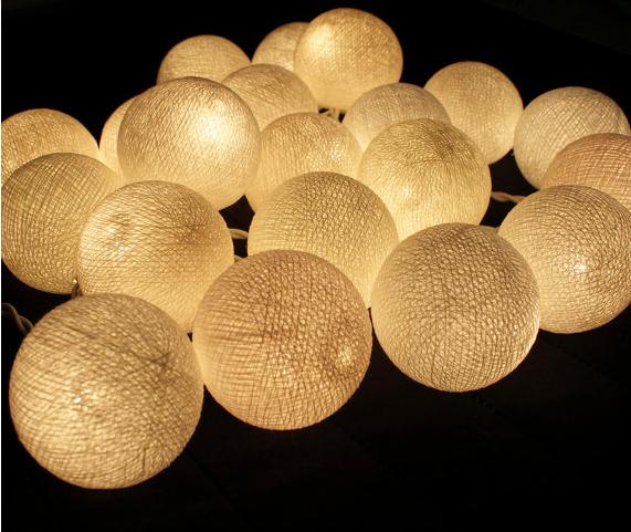 20 Balls/Set 20 Creamy white LED Cotton Balls Fairy String Lights Christmas,Wedding,Halloween,Decoration 1742(China (Mainland))