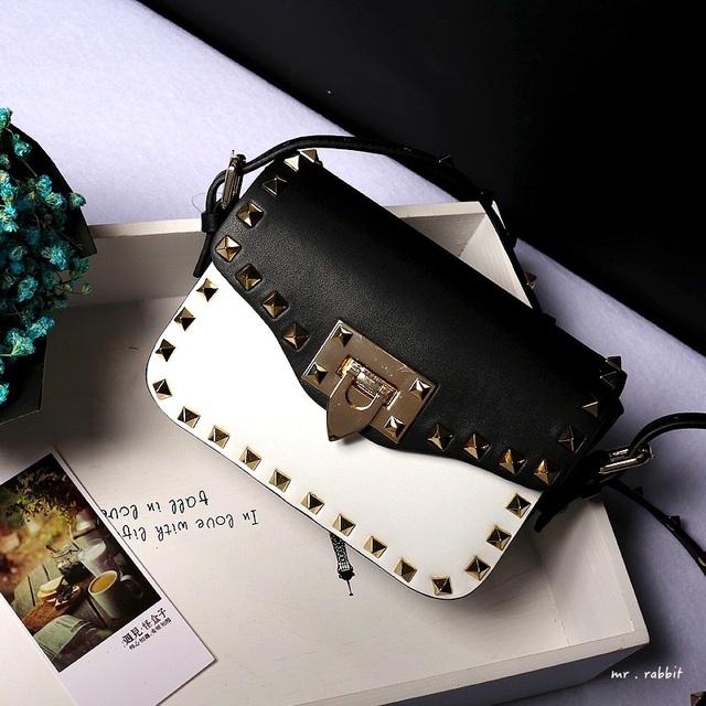 2016 высокое качество кожа мода заклепки дизайн цвет сшивание сумка женская сумочка кошелек через тела сумка лоскут