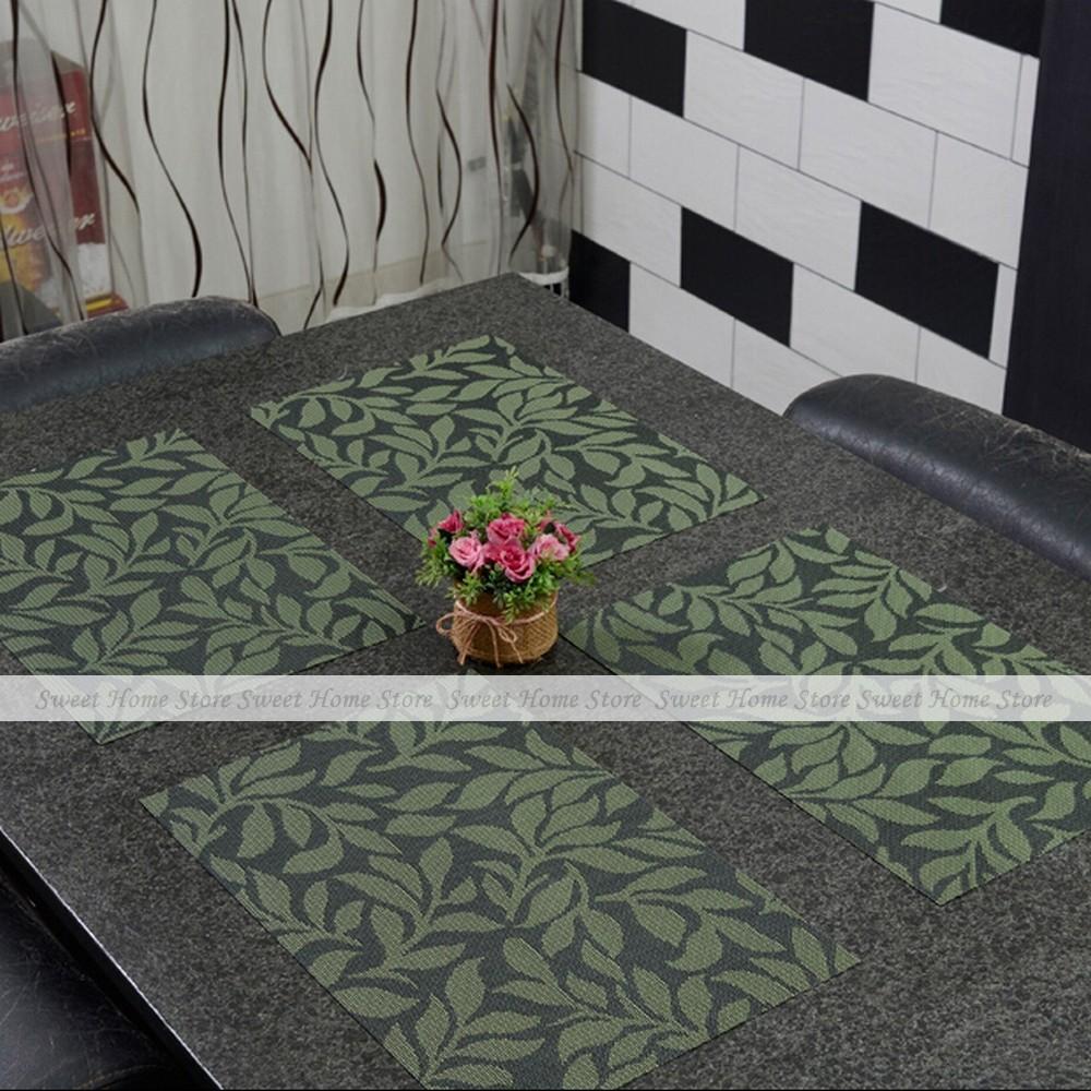YEVITA 4pcs Vintage Leaves PVC Kitchen Place Mats Dinner Party Table Decor Pad Green(China (Mainland))