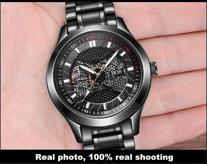 ANGELA BOS Limited Edition Black Mechanical Skeleton Automatic Watch Brands Men Watches Waterproof Steel Luminous Wrist Watch
