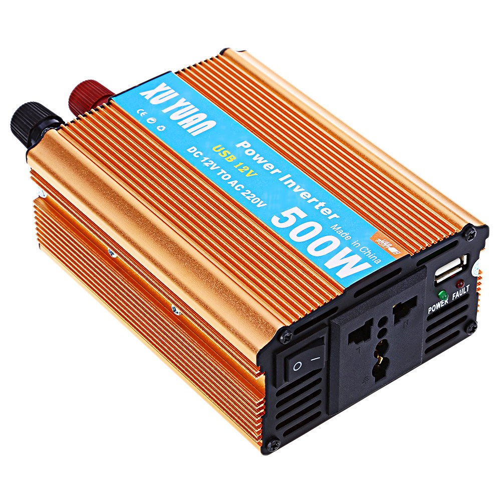 500W DC 12V to AC 220V Vehicle Power Inverter with USB Charging Port Aluminum Alloy Case LED Display Shows DC and AC Voltage(China (Mainland))