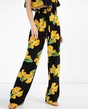 2016 New Women Brand Vintage Elegant Flower Print Loose Wide leg pants Long Trousers Leisure Zipper Fly  Waist  Sashes Pants (China (Mainland))