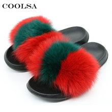 Coolsa Verão Mulheres Chinelos de Pele De Raposa Real Fox cabelo Slides Feminino Fluffy Plush Furry Indoor Chinelos Sandálias de Praia Casuais sapatos(China)