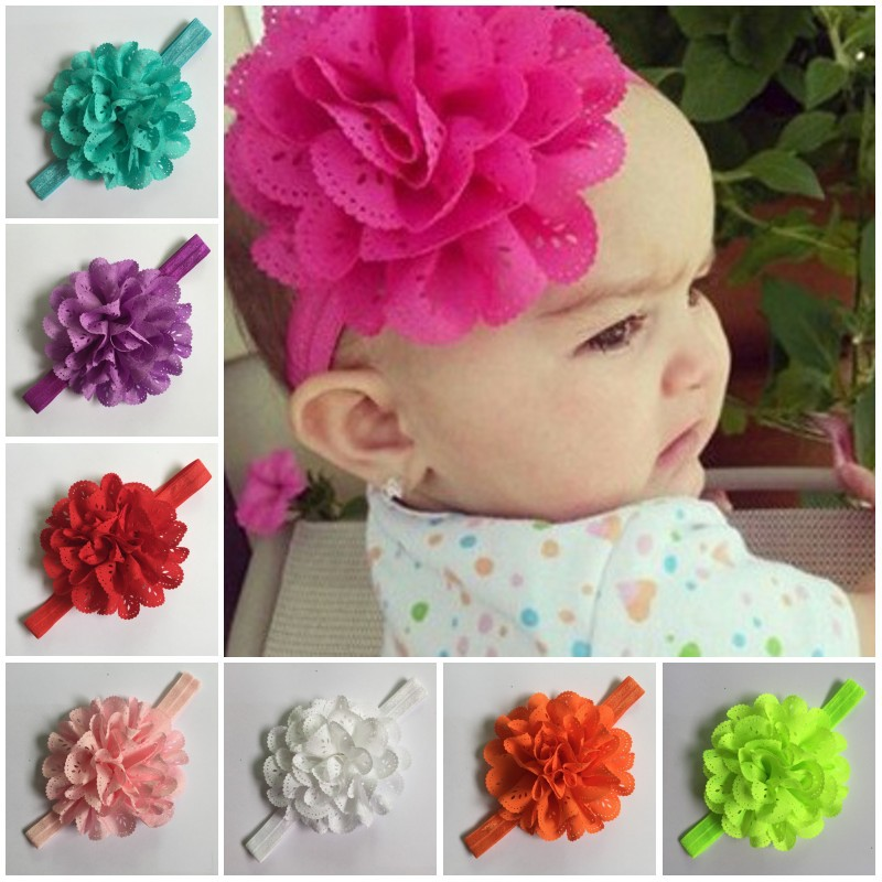 2015 Girl's Head Accessories hairband Baby Headband flower princess headband elastic flower hairband free shipping C142(China (Mainland))