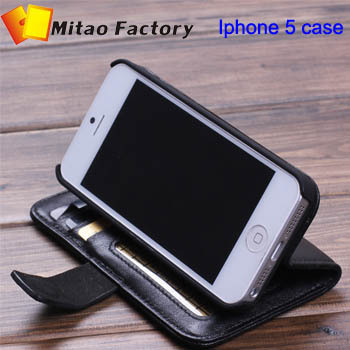 High Quality Fashion Wallet Case For iphone 5 5g With Card Holder Stand Design Leather Case For iphone 5  Mobile Phone Accessory