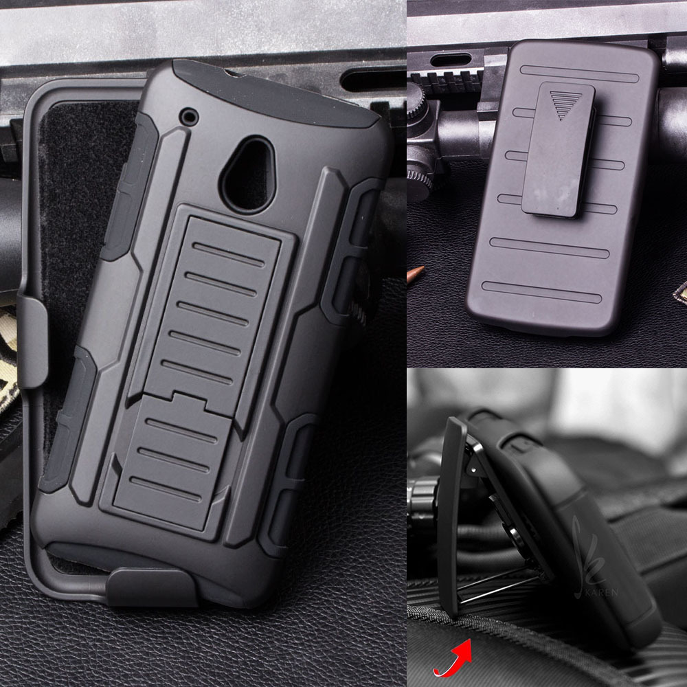 Tough Hybrid Armor for HTC One Mini M4 601E Case Capa funda 3 in 1 Kickstand & Belt Clip Military Style Cover Mobile Phone Bags(China (Mainland))
