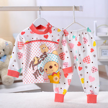 Retail 2016fashion children's baby's Boy's girl's clothing sets100% cotton cartoon figure pajamas sets shirts+trousers Warm suit(China (Mainland))