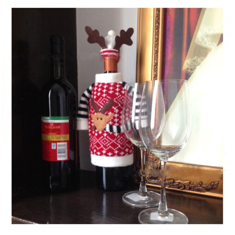 Christmas Deer Style Bottles sleeve Red Wine Bottle Glass Cover Champagne Bottle Decoration Antler Hat Tops Suits HOT SALE Gift(China (Mainland))