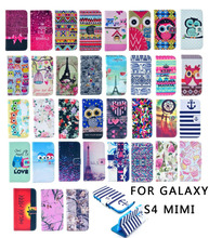 2015For Samsung Galaxy S4 Mini i9190 Fashion Pattern Stand Flip Wallet Leather Case Cover With Credit Card Holder Protective Bag(China (Mainland))