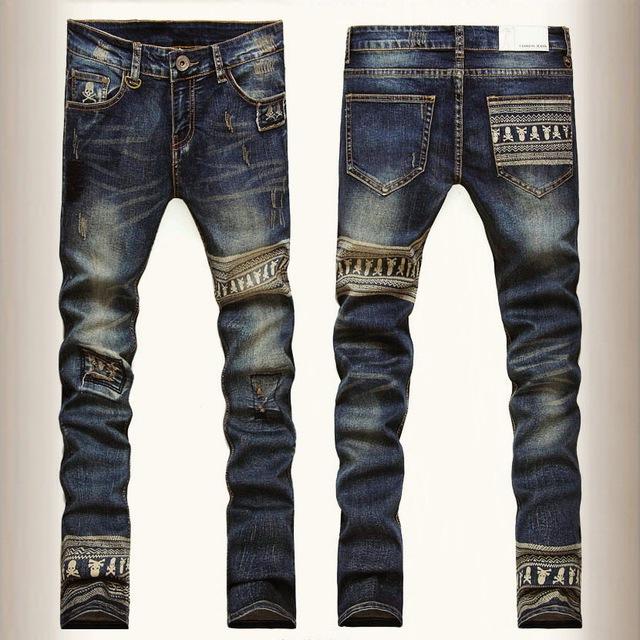 Мода марка череп узкие джинсы мужчины прямой ногой джинсовые брюки мужские разорвал ...