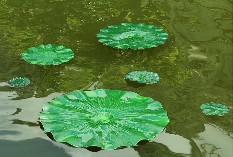 Hot 60 cm in diameter artificial simulation green lotus for Floating fish aquarium for pond