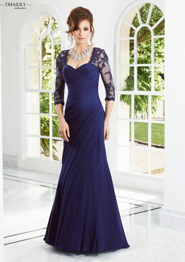 Zz316 элегантный полурукав длиной до пола мать невесты платья 2016 аппликации мать невесты платья