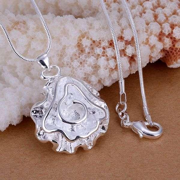 P041 fashion jewelry chains necklace 925 silver pendant Large roses fall - fengqin gong's store