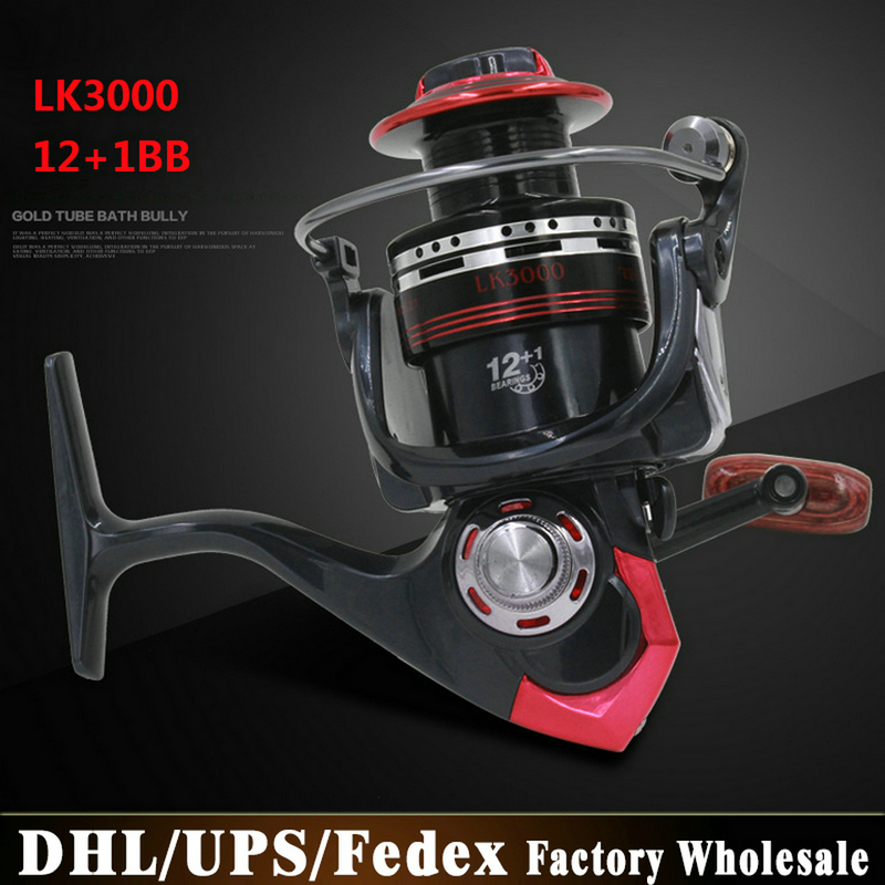 Free DHL Fedex 20PCS LK3000 LK5000 12+1 Ball Bearings Left/Right Interchangeable Collapsible Handle Fishing Spinning Reel(China (Mainland))