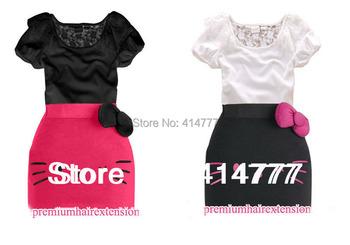 2014 Summer dress Hello Kitty Bow dress lace girls tight dress baby girl dress Hello Kitty kids clothing 2pcs T-shirt+dress