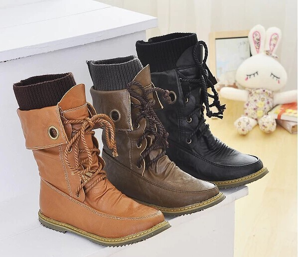 MEMUNIA 2017 women boots lace up flat mid calf boots high quality classic casual women motorcycle boots high shoes