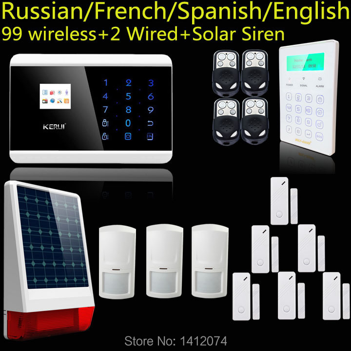Датчики, Сигнализации KERUI lcd pstn gsm ios android alarme, 8218G new kerui tft color lcd display wifi gsm pstn home office security alarm system ios android remote control with wifi ip camera