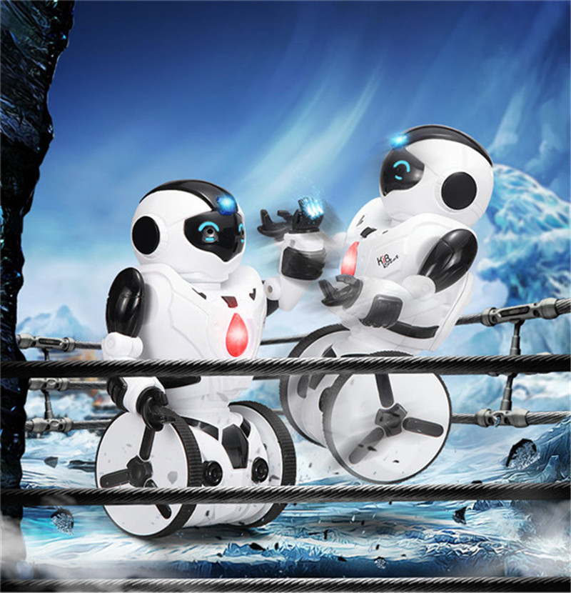 2016 New KID Remote Control RC Robot Intelligent Balance Wheelbarrow Dance Drive Box Gesture Battle Action Figure Electric Toy(China (Mainland))