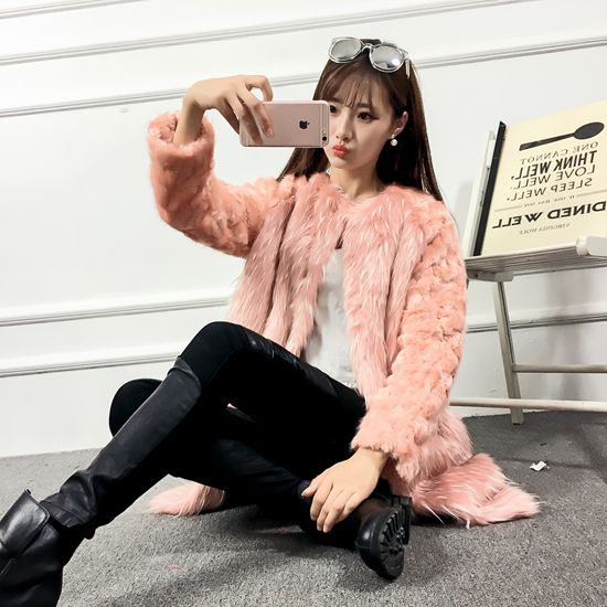 Autumn and winter fashion personality ostrich patchwork rabbit fur coat Одежда и ак�е��уары<br><br><br>Aliexpress