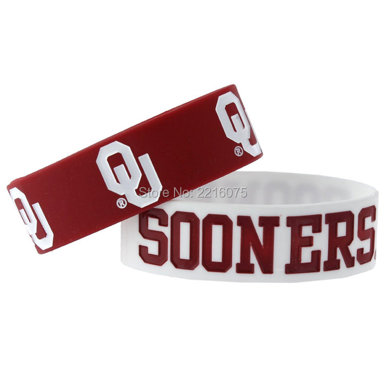 300pcs One inch NCAA Oklahama Sooners Sports Collegiate Team Logo wristband silicone bracelets free shipping by FEDEX express(China (Mainland))