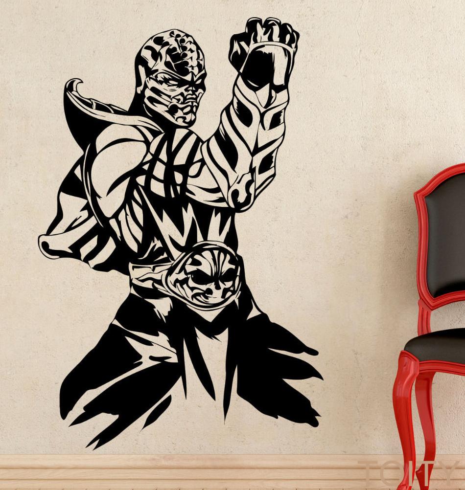 mortal kombat juego escorpin etiqueta de la pared del arte del vinilo decal diseo de interiores