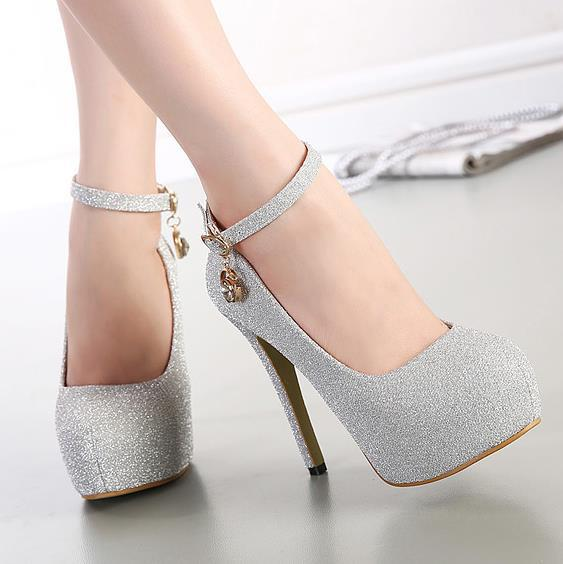 Grey Ankle Strap Wedding Shoes
