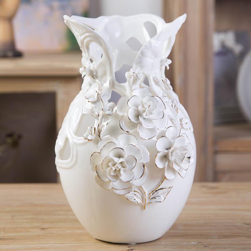 Modern home accessories vases Decoration creative living room Continental gilt rose flower vase flower holder(China (Mainland))