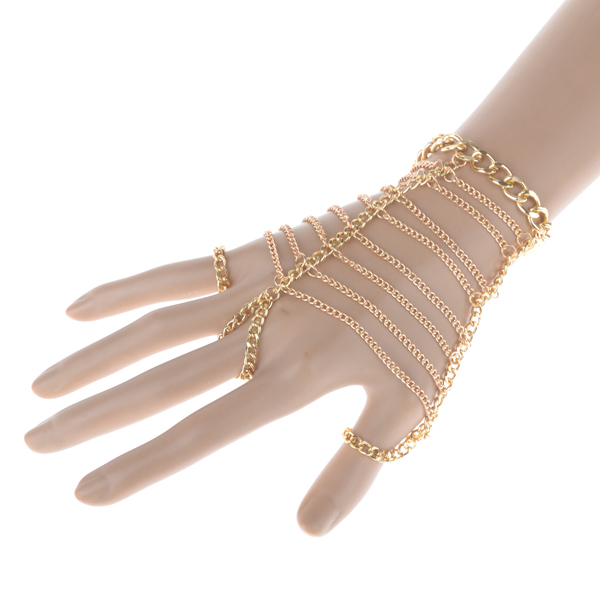 Trend Jewelry Punk Gold Multilayer Chain Finger Ladder Hand Harness Hand Chain Bracelet Slave Bracelet Free Shipping(China (Mainland))