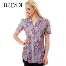 BFDADI Марка Женщины Цветочные Рубашки Женщины Случайный Загара Эластичность Чистая пряжи ткань Рубашки Дамы Блузки Женщины Плюс размер Топы 3216(China (Mainland))