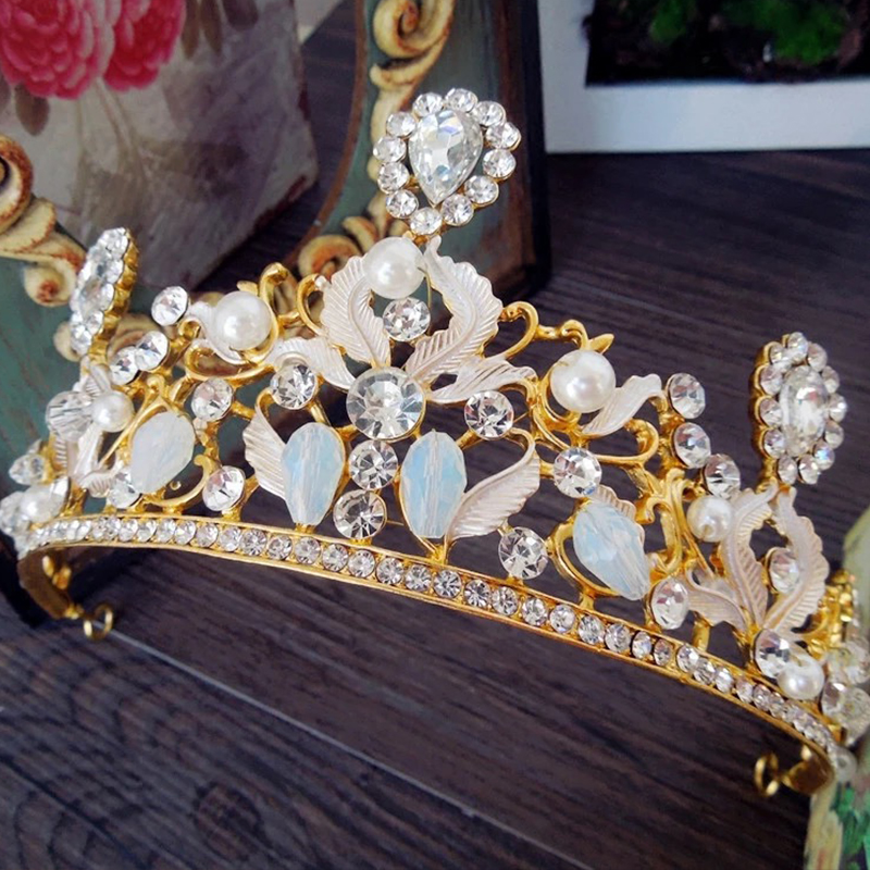 Hot Sale Vintage Headband Quality Crown Tiara Of The Bride Crown Golden Crystal Alloy Rhinestone Marriage Accessories(China (Mainland))