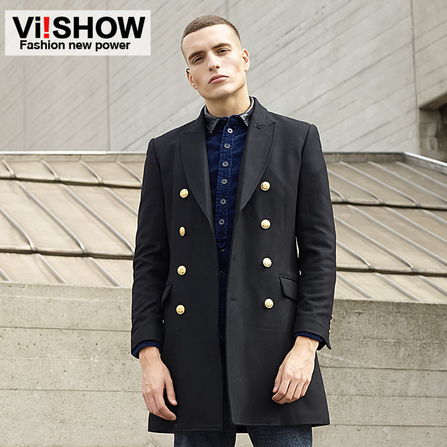 2016 мода стильная мужская плащ, Зимняя куртка мужские - тонкий двубортный пальто, ...