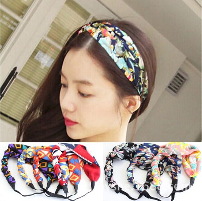 2014 nueva gasa de flores de tela hechos a mano trenza hairbands elásticos de la venda del estilo de corea accesorios para el cabello en Accesorios Para el