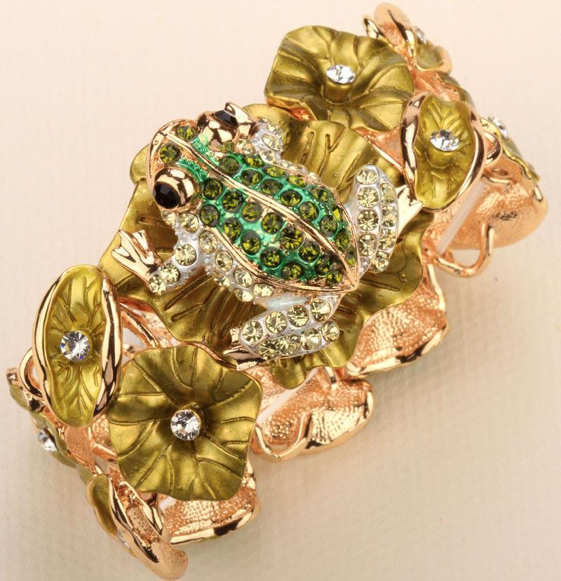 Frog charm stretch bracelet for woman summer crystal rhinestone fashion jewelry chain cuff A18 wholesale 2015(China (Mainland))