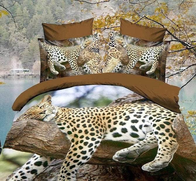 3D leopard jaguar print brown bedding set queen size quilt duvet cover bedsets bed in a bag sheet bedsheet linen oil painting(China (Mainland))
