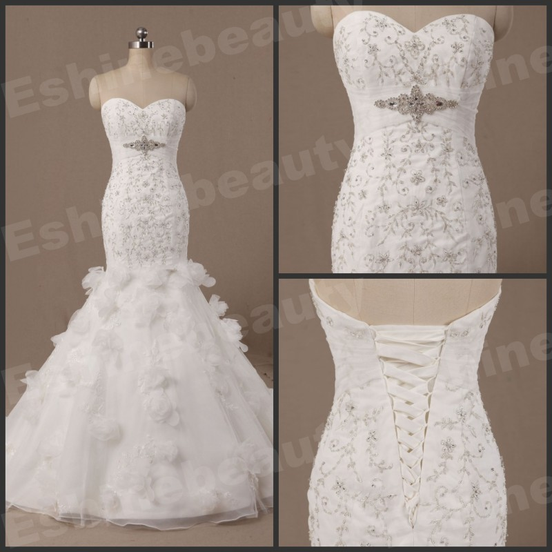 Wan15017 actual image glamorous sweetheart embroidery for True mermaid wedding dresses
