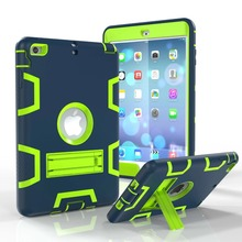 For Apple iPad Mini 1 2 3 Pad Cover Silicon PC Stand Pouch Bag Protective Armor Shell Tablet Case free Screen Protective Film(China (Mainland))